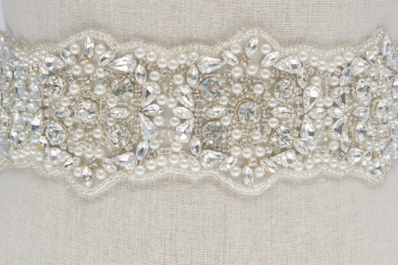 jeweled bridal sash by SparkleSMBridal | via Should I Add a Sash to My Dress? on Emmaline Bride | http://emmalinebride.com/bride/should-i-add-sash-to-wedding-dress/