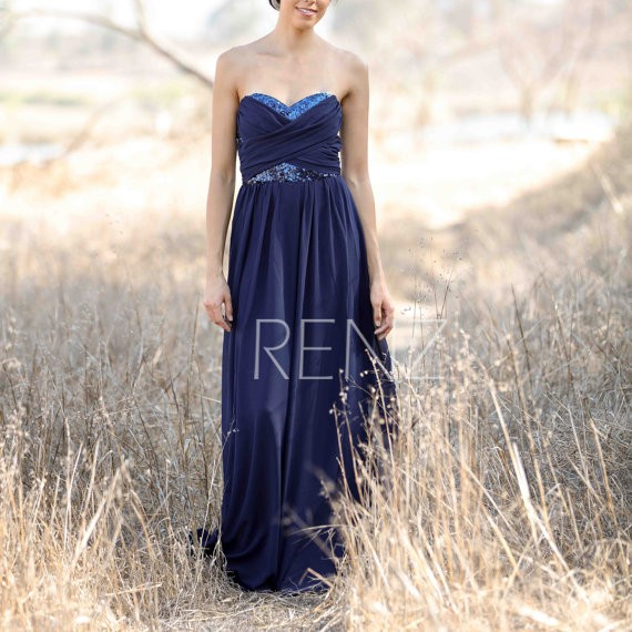 long beaded sequin navy bridesmaid dress by renz