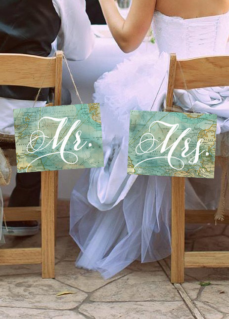 map chair signs | travel themed wedding ideas: http://emmalinebride.com/themes/travel-theme-wedding-ideas/