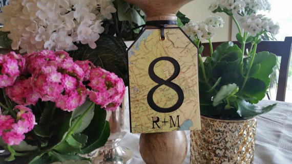 map table numbers by lakecoutnrycottage | travel themed wedding ideas: http://emmalinebride.com/themes/travel-theme-wedding-ideas/