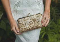 metallic antique gold sequins clutch