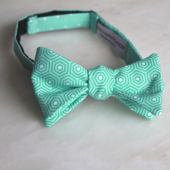 mint hexagon bow by DivineDomestication