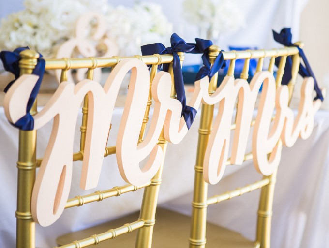 mr & mrs script | chair signs for bride and groom | by zcreate design | http://emmalinebride.com/reception/chair-signs-for-bride-and-groom/