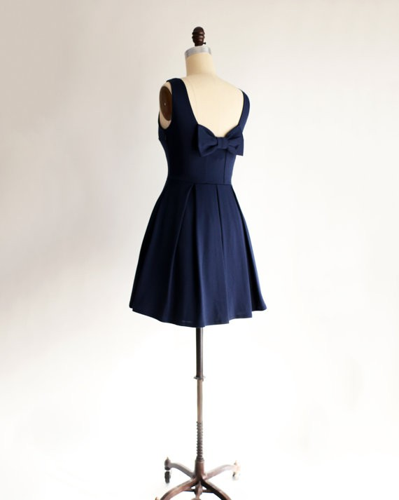 navy bridesmaid dress with bow on back