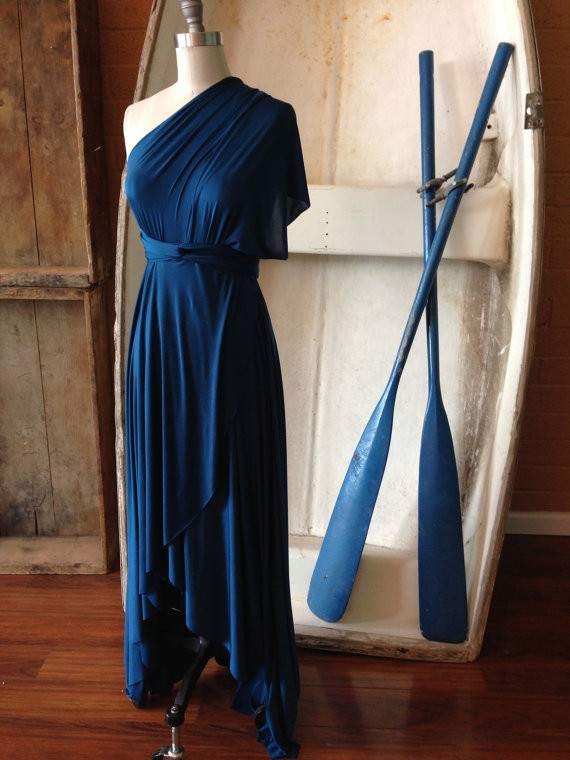 one shoulder peacock blue bridesmaid dress by coraliebeatrix