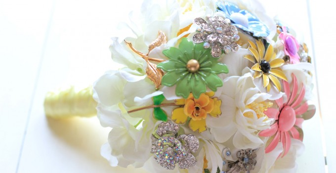 pastel brooch bouquet