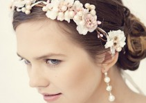 pink flower hair crown on bride