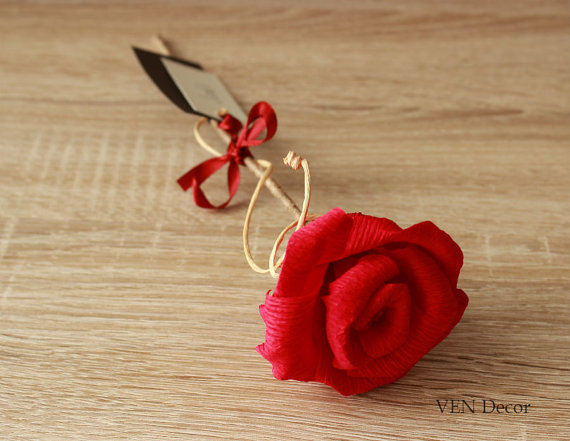 red rose paper flower