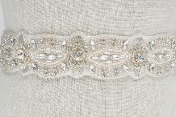 rhinestone and pearl sash by SparkleSMBridal | via Should I Add a Sash to My Dress? on Emmaline Bride | http://emmalinebride.com/bride/should-i-add-sash-to-wedding-dress/