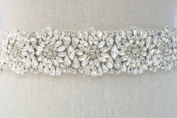 rhinestone sash by SparkleSMBridal | via Should I Add a Sash to My Dress? on Emmaline Bride | http://emmalinebride.com/bride/should-i-add-sash-to-wedding-dress/