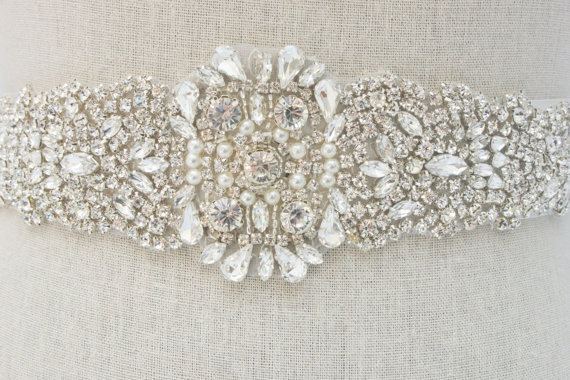 rhinestone sash belt by SparkleSMBridal | via Should I Add a Sash to My Dress? on Emmaline Bride | http://emmalinebride.com/bride/should-i-add-sash-to-wedding-dress/