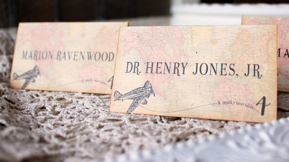 travel theme wedding place cards by SunshineandRavioli | travel themed wedding ideas: http://emmalinebride.com/themes/travel-theme-wedding-ideas/