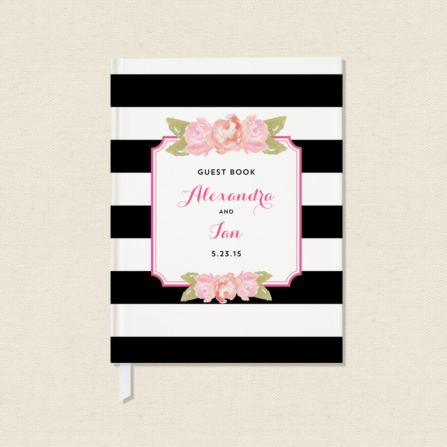 black and white striped guest book with pink