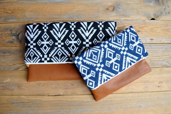 boho chic leather clutches