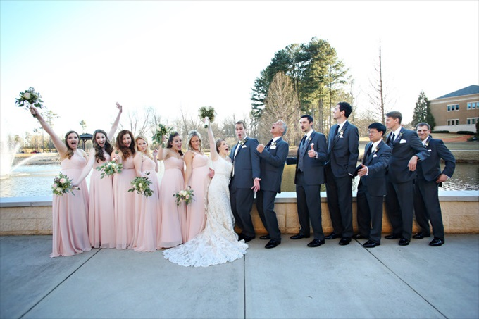 bridal party wedding | Sarah + JJ's Pretty Wedding at 173 Carlyle House | http://www.emmalinebride.com/real-weddings/pretty-wedding-173-carlyle-house/ | photo: Melissa Prosser Photography - Atlanta Georgia Wedding Photographer