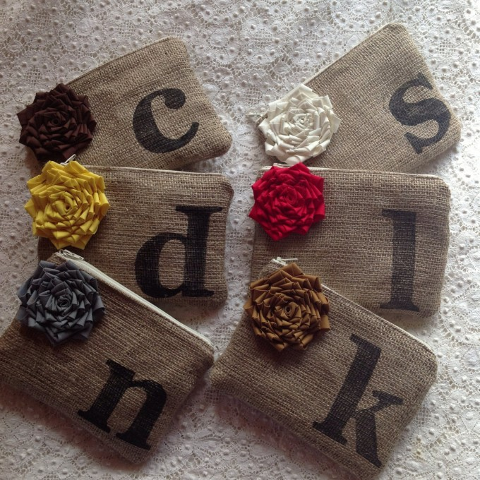 burlap clutch with initials