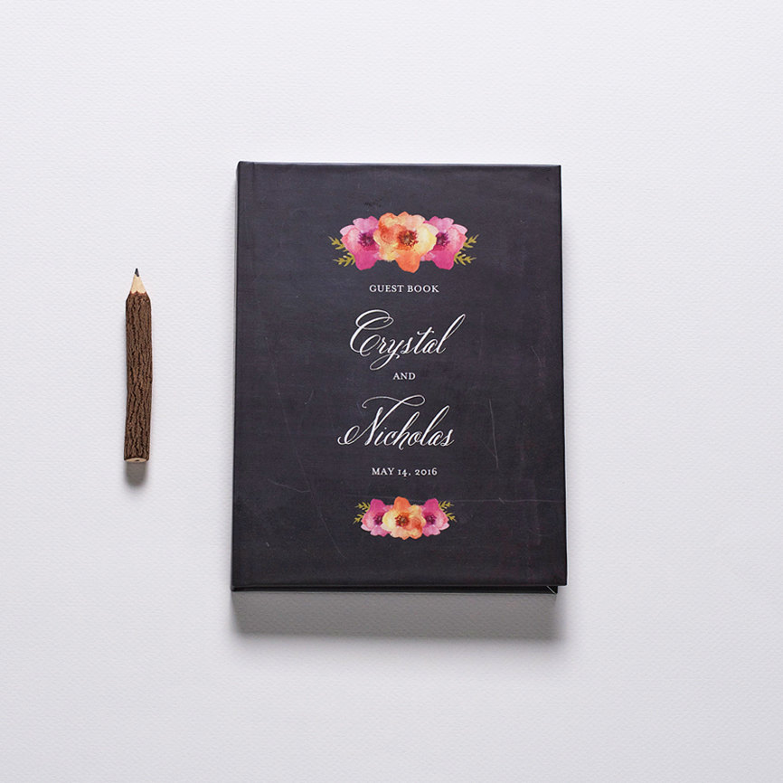chalkboard and floral guest book