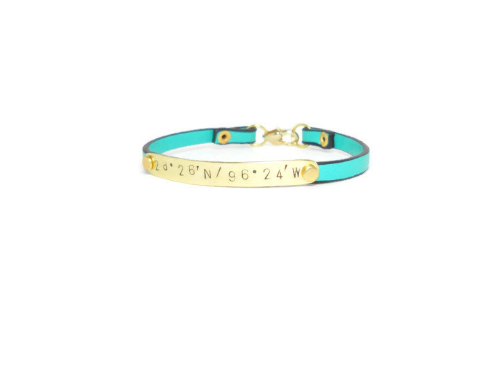 cute latitude longitude bracelets for bridesmaids - aqua