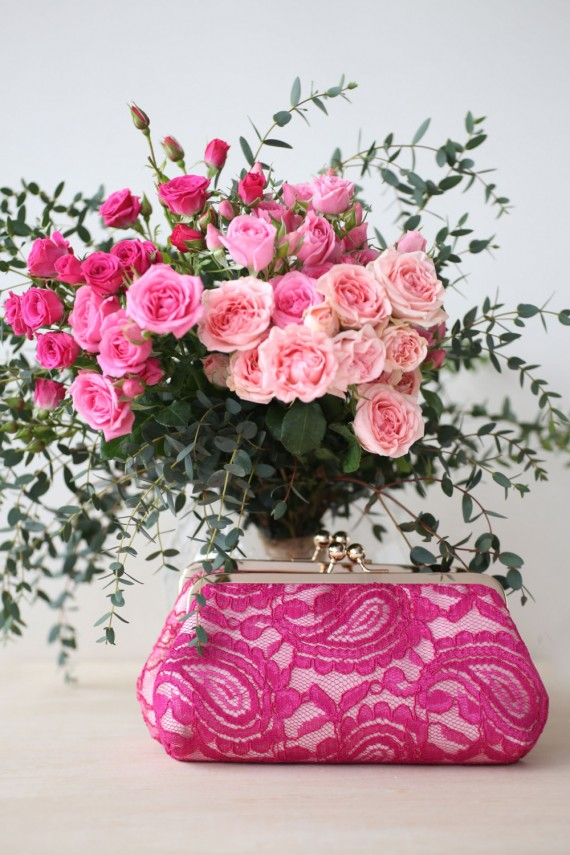 fuchsia alencon lace clutch purse by angeew | bridesmaid clutches instead of flowers via http://emmalinebride.com/bridesmaid/clutches-instead-of-flowers/
