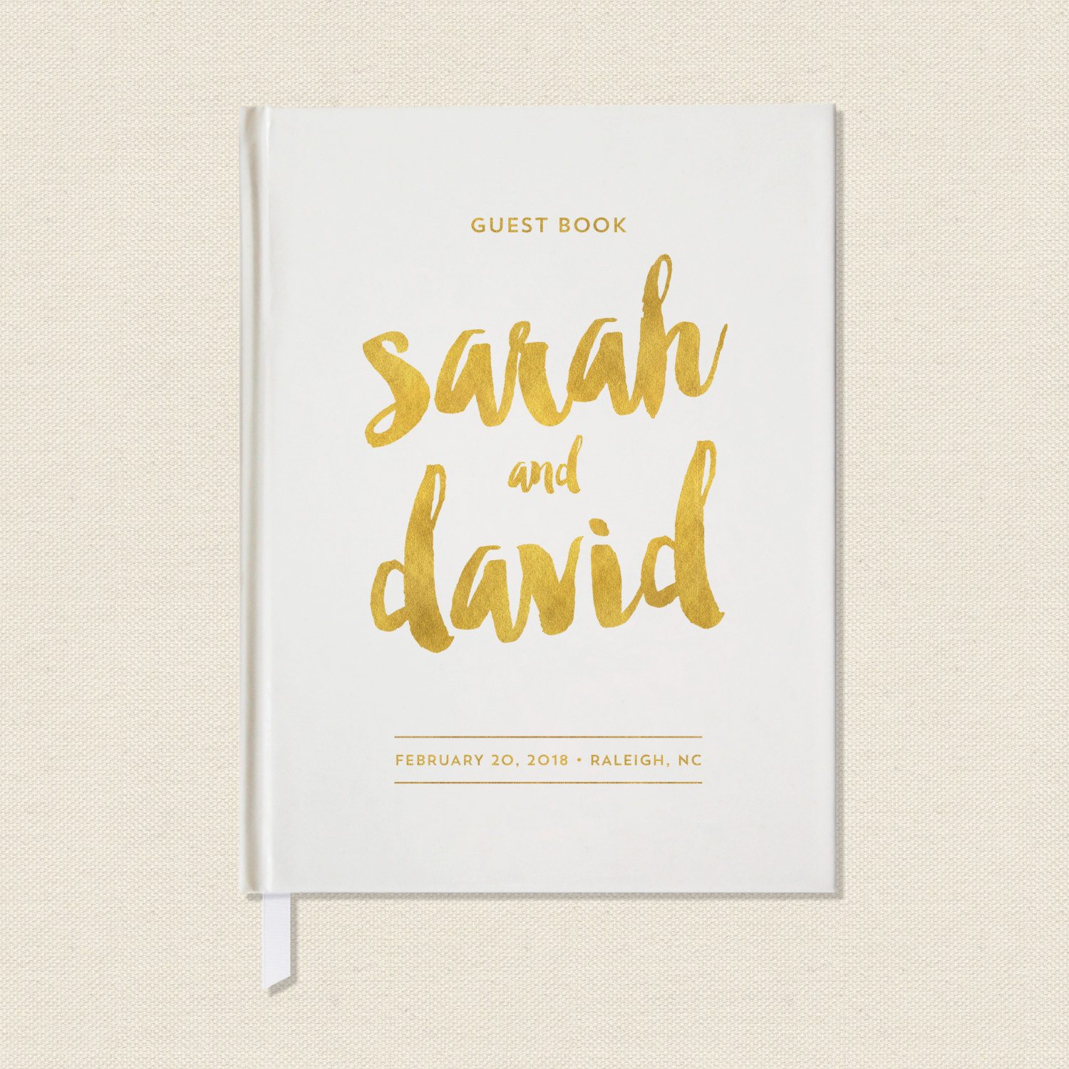 gold text guest book