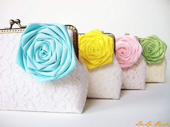 lace clutch with flower