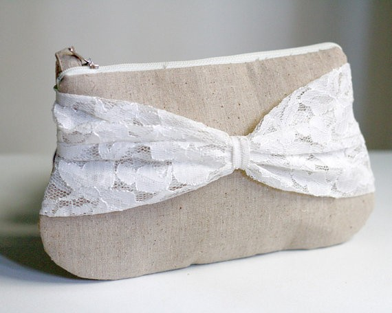 linen and bow lace clutch