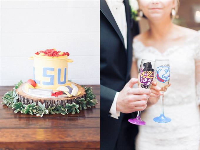 lsu wedding glasses cake | A Beautiful Sainte Terre Louisiana Wedding(Real Weddings) | http://www.emmalinebride.com/real-weddings/a-beautiful-sainte-terre-wedding-in-louisiana-real-weddings/ | Photo:  Photography by Micahla Wilson
