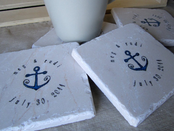 nautical coasters by mylittlechick | via 50+ nautical wedding theme ideas at EmmalineBride.com