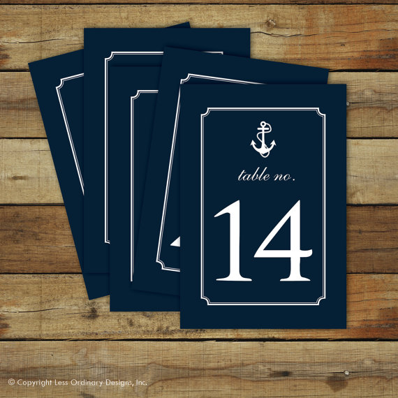 nautical table numbers by saralukecreative | via 50+ nautical wedding theme ideas at EmmalineBride.com