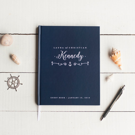 nautical wedding guest book | via 50+ nautical wedding theme ideas at EmmalineBride.com