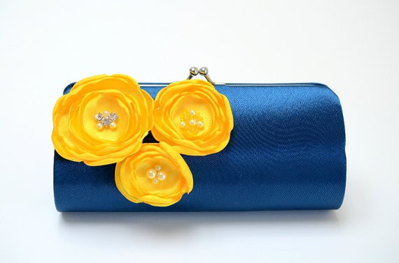 navy and yellow clutch by fallensparrow | bridesmaid clutches instead of flowers via https://emmalinebride.com/bridesmaid/clutches-instead-of-flowers/