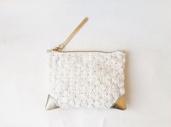rosette lace white clutch