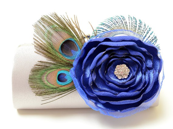 sapphire blue bridesmaid clutch by fallensparrow