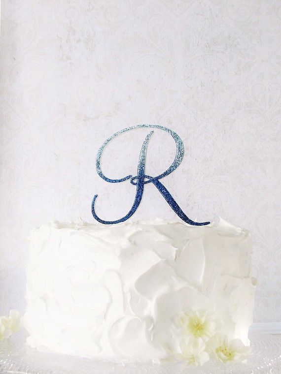 sapphire blue wedding cake topper ombre by studiobloomiowa