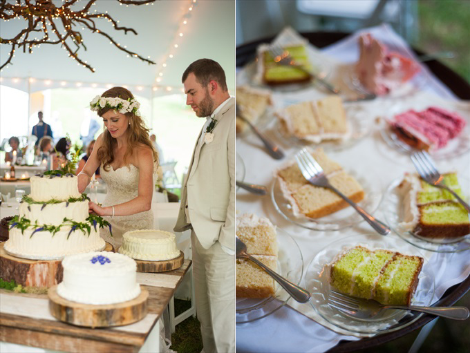spring wedding bride cutting cake | Kelly and Paul's Rustic Spring Wedding in Georgia (Georgia Weddings) | http://www.emmalinebride.com/real-weddings/a-magnificent-rustic-spring-wedding-in-georgia-weddings/ | photo: You Are Raven