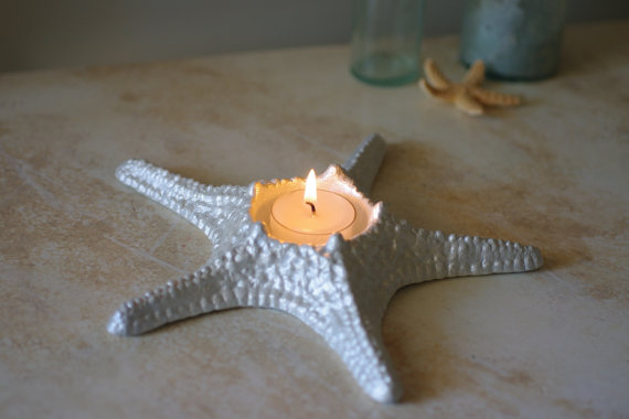 starfish candle holder by bytheseashoredecor | via 50+ nautical wedding theme ideas at EmmalineBride.com