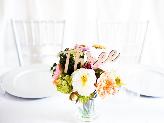 table number spelled out three part of centerpiece