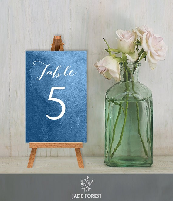 table numbers sapphire blue by jadeforestdesign