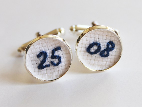 Wedding date cuff links for the groom | by Aristocrafts | http://emmalinebride.com/gifts/initial-necklaces-for-bridesmaids/