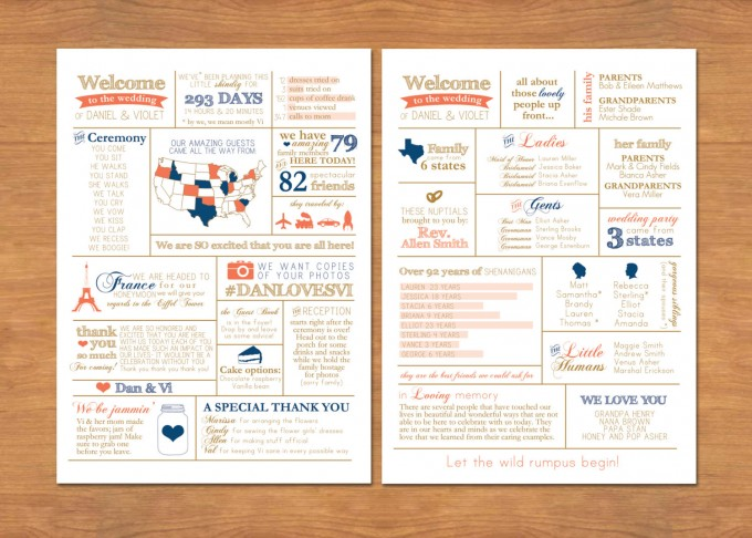 wedding infographic program style