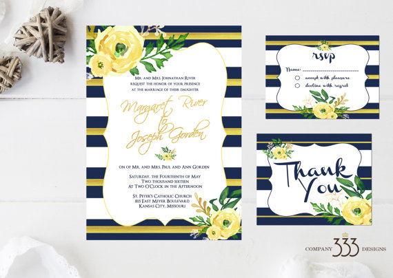 wedding invites - navy and yellow