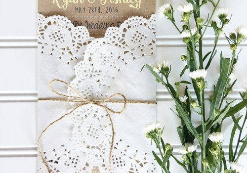 wedding program kraft wrapped in doily