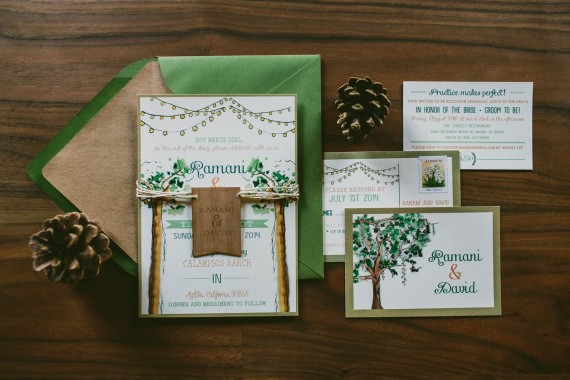 Custom Watercolor Wedding Invitation tree | rustic wedding invitations etsy finds | by Wide Eyes Paper Co. | http://emmalinebride.com/rustic/invitations-rustic-weddings/