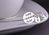 best mom ever bangle bracelet with initials and birthstone
