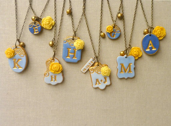 blue and yellow initial necklaces for bridesmaids | by Palomaria | bridesmaid necklaces initials | http://emmalinebride.com/gifts/bridesmaid-necklaces-initials