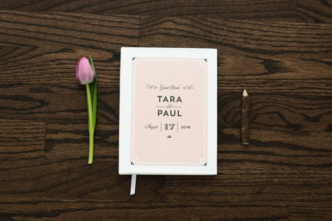 blush pink and white guest book