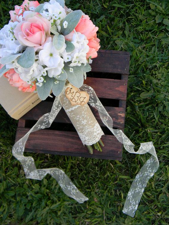 burlap and lace rustic wedding bouquet wrap | wedding bouquet wraps: http://emmalinebride.com/bouquets/wedding-bouquet-wraps/