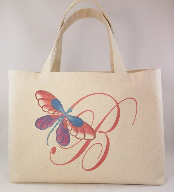 butterfly monogram totes for bridesmaids