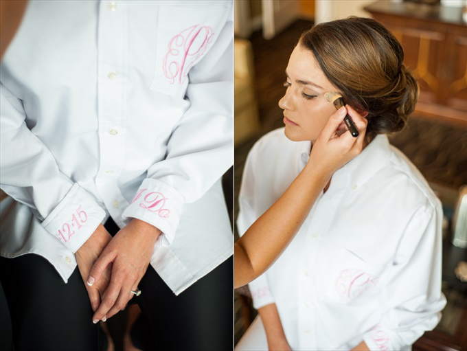 buttoned down shirt embroidered monogrammed bride One Pretty Wedding at the Foundry at Puritan Mill (Real Weddings) | Atlanta Georgia foundry mill weddings | http://www.emmalinebride.com/real-weddings/one-pretty-wedding-at-the-foundry-at-puritan-mill-real-weddings/ | Photo: You Are Raven