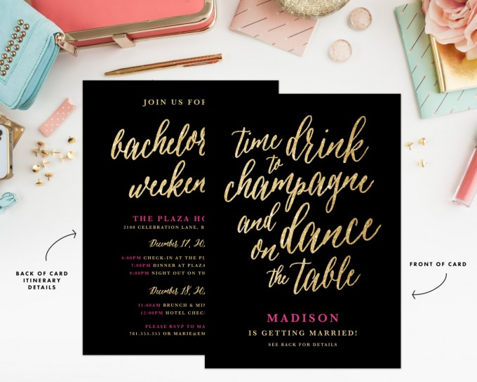 champagne bachelorette party invitation by fineanddandypaperie | champagne bachelorette party ideas http://emmalinebride.com/how-to/plan-champagne-bachelorette-party